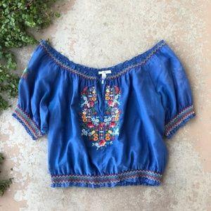 Joie Blue Boho Floral Embroidered Off Shoulder Top